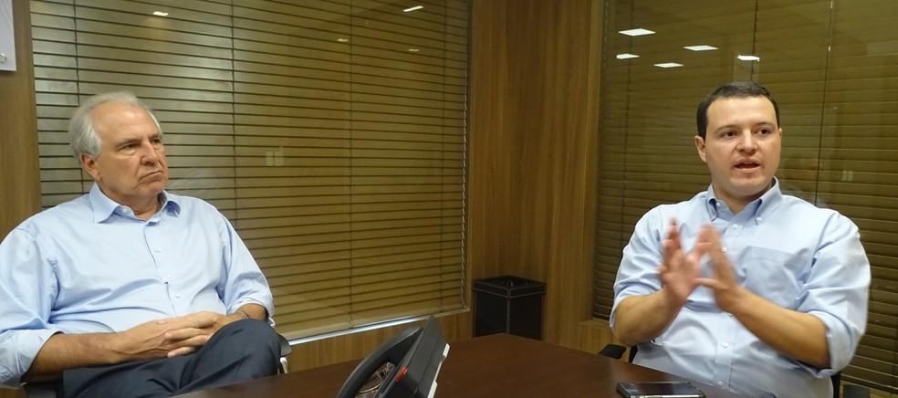 Rubens Menin e Rafael Menin, patrocinadores e parceiros do Atlético — Foto: Rodrigo Fonseca