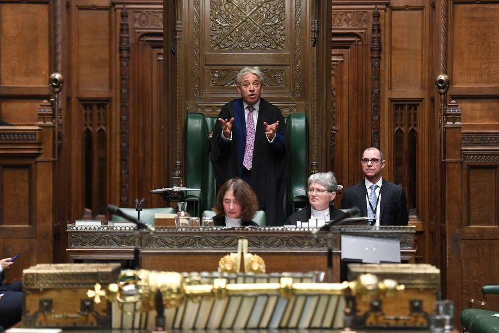 John Bercow discursa no Parlamento britânico nesta quinta-feira (31), último dia em que ele ocupa a Presidência da Câmara dos Comuns — Foto: ©UK Parliament/Jessica Taylor/Handout via REUTERS