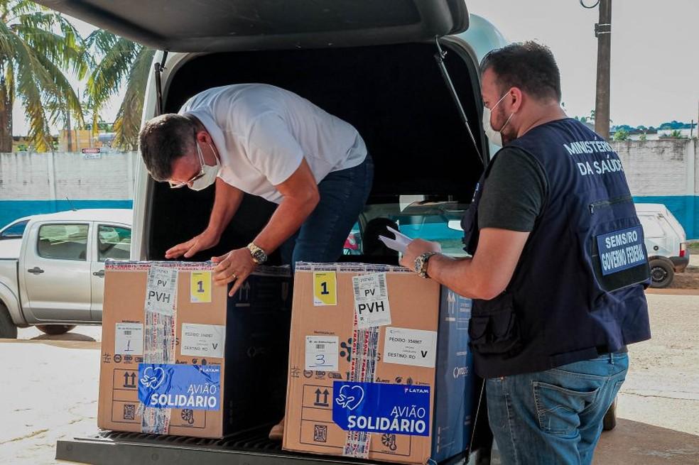 Chegada da 29ª remessa de vacinas contra Covid em Rondônia — Foto: Governo de Rondônia/Divulgação