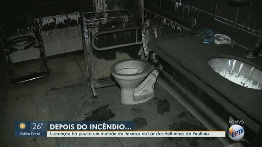 Paulínia inicia mutirão de limpeza no Lar dos Velhinhos após fogo; idosos foram para clínicas
