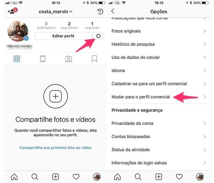 Caminho para acessar a ferramenta para mudar para conta comercial no Instagram (Foto: Reprodução/Marvin Costa)
