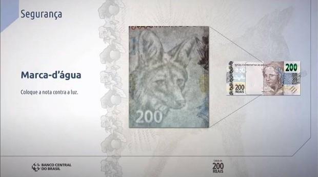 Elementos de segurança da cédula de R$ 200 (Foto: Banco Central)