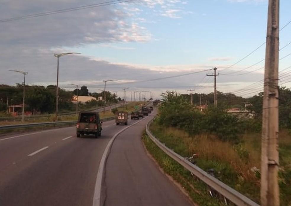 Veículos do Exército nas estradas do Ceará (Foto: 10ª Região Militar/Divulgação)