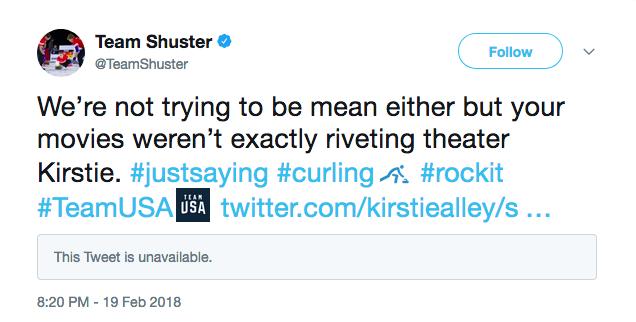 A resposta da conta oficial da seleção de curling dos EUA à crítica feita por Kirstie Alley (Foto: Twitter)