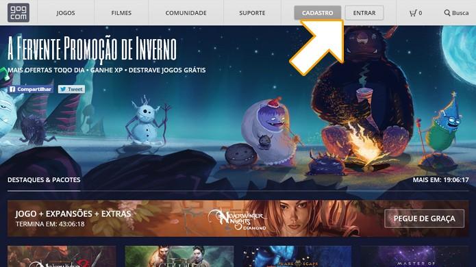 Entre na loja Good Old Games e faça seu login para poder resgatar Neverwinter Nights gratuitamente (Foto: Reprodução/Rafael Monteiro)