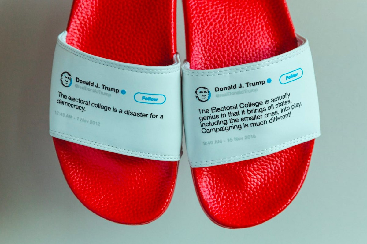 Os chinelos em 'homenagem' a Donald Trump (Foto: Divulgação)