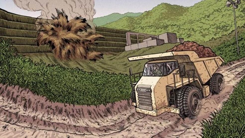 Ana Paula da Silva Mota, de 30 anos, dirigia um caminhão de minério em uma estrada a apenas 550 metros da barragem quando ocorreu o rompimento. — Foto: VITOR FLYNN/BBC NEWS BRASIL