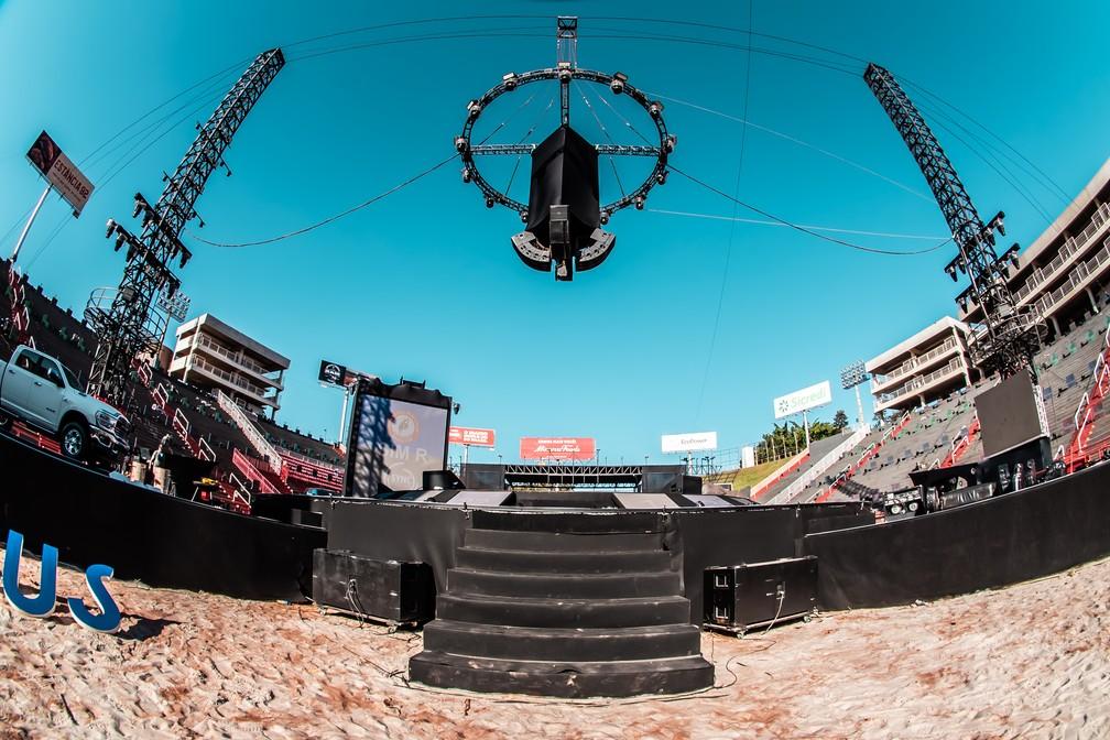 Arena no Parque do Peão recebeu estrutura especial para live em Barretos (SP) — Foto: Mateus Rios