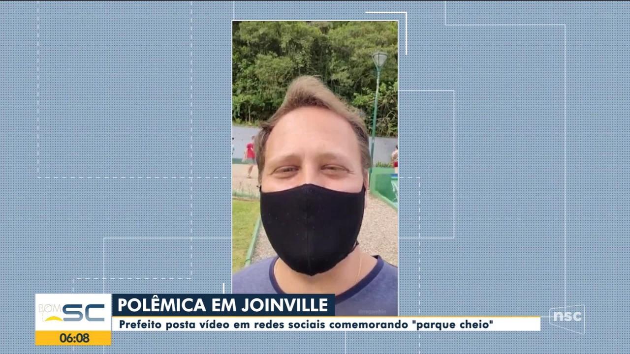 Prefeito de Joinville posta vídeo em redes sociais comemorando parque cheio