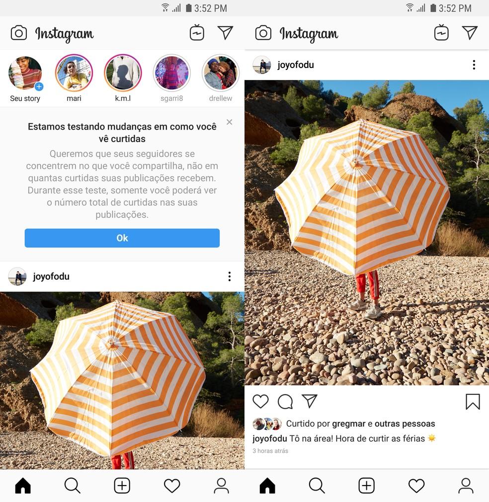 Instagram anuncia remoção de contagem de curtidas no feed em 2019. — Foto: Divulgação/Instagram