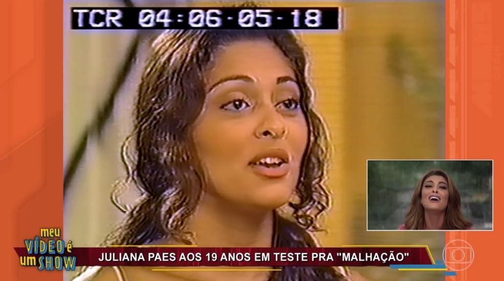 Juliana Paes ficou surpresa ao rever teste em 'Malhação' — Foto: TV Globo