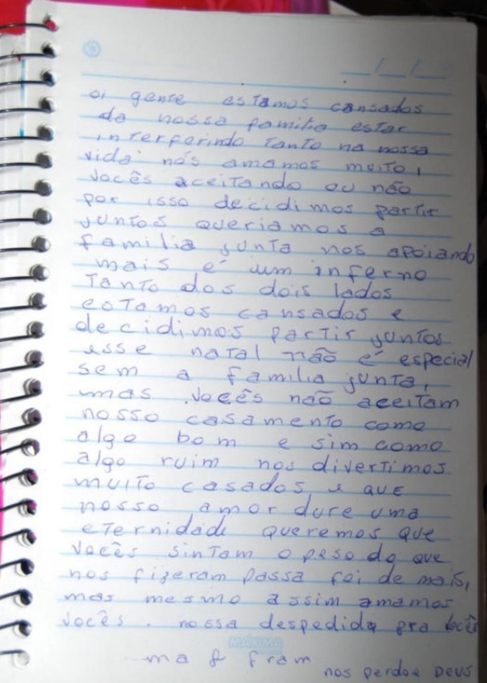 Carta foi apreendida na casa em Várzea Paulista — Foto: Reprodução