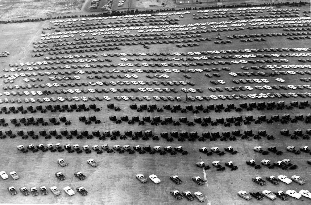 Vista aérea da fábrica de automóveis da Ford em São Bernardo do Campo (SP), em junho de 1975 — Foto: Rolando de Freitas/Estadão Conteúdo/Arquivo