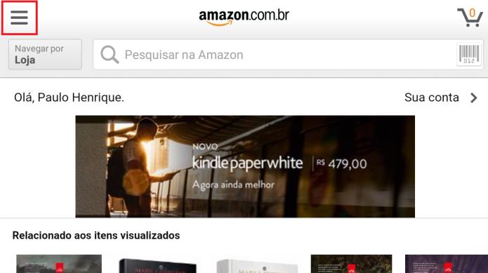 Acesse o aplicativo e abra o menu lateral (Foto: Reprodução/Paulo Vasconcellos)