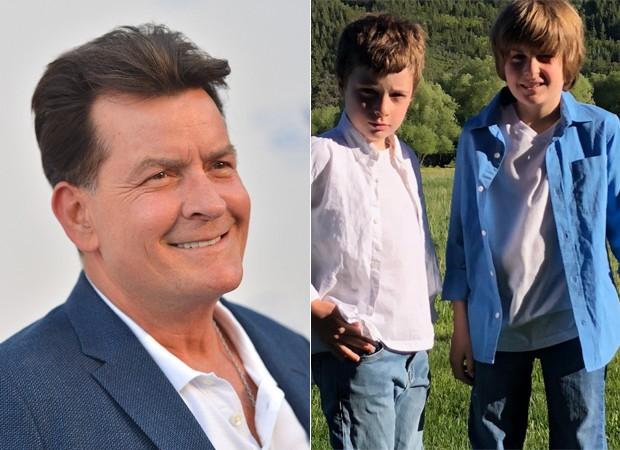 Charlie Sheen e seus filhos, Max e Bob (Foto: Getty Images e Reprodução / Instagram)