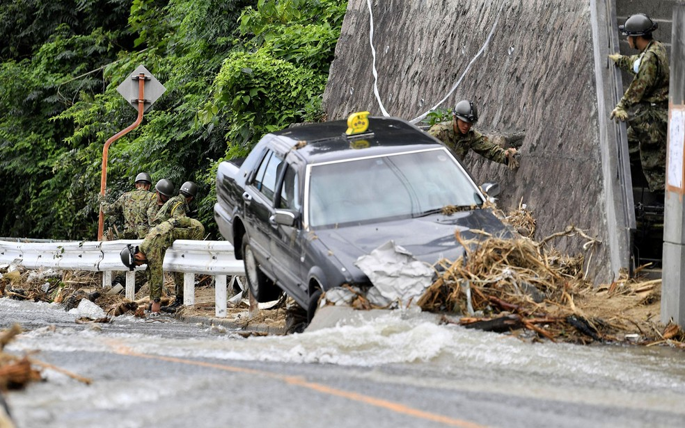 -  O total de vítimas fatais por causa de tempestades no Japão já passa de 180  Foto: Kyodo/via Reuters