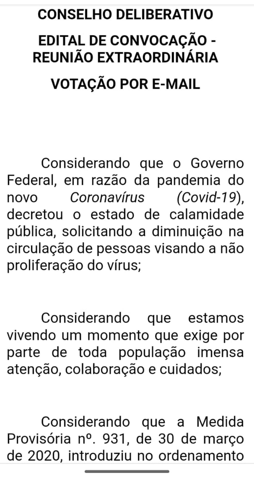 Convocação do Conselho Deliberativo — Foto: Reprodução