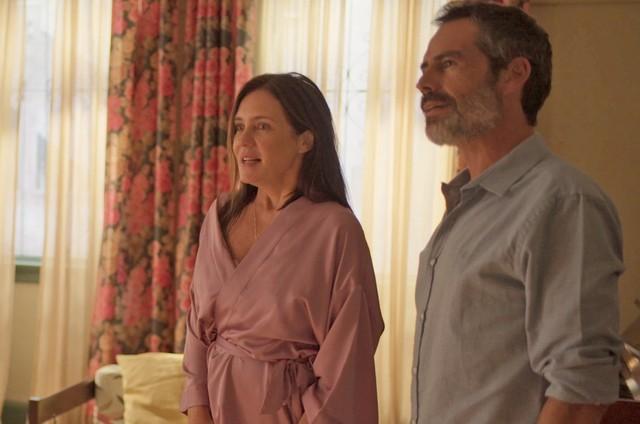 Na terça (31), Thelma (Adriana Esteves) vai flagrar Gabo (Filipe Duarte) escondendo armas em seu restaurante  (Foto: Reprodução)