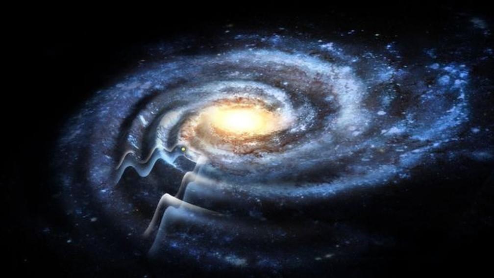 Reproduções artísticas que mostravam a Via Láctea 'reta' terão de ser revistas — Foto: Rensselaer Polytechnic Institute
