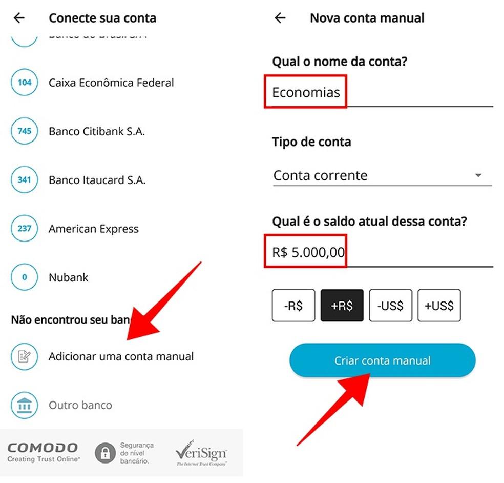 Adicione uma conta manual no GuiaBolso (Foto: Reprodução/Paulo Alves)