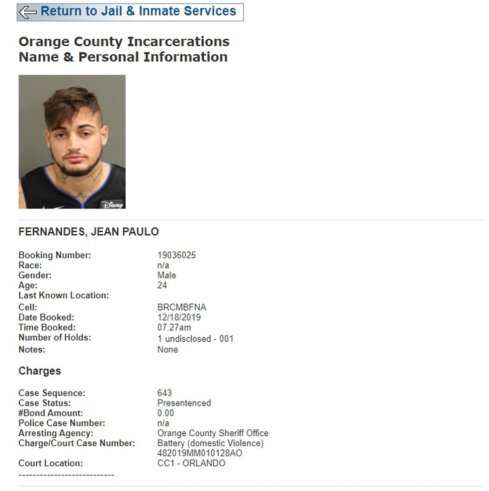 Jean goleiro do São Paulo preso na Flórida — Foto: Reprodução