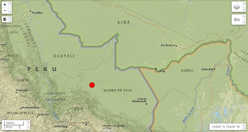 Terremoto no Peru de magnitude 5.7  — Foto: Reprodução/USGS