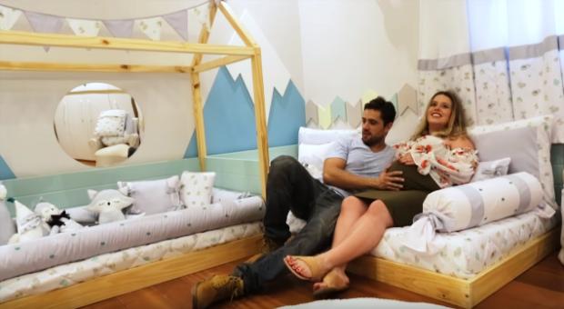 Rafael Cardoso e Mariana Bridi curtem o quarto novo de Valentim (Foto: Divulgação)