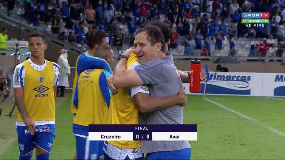 Elenco do Avaí, mesmo rebaixado matematicamente, comemorou empate com o Cruzeiro nessa segunda-feira — Foto: Reprodução/Sportv