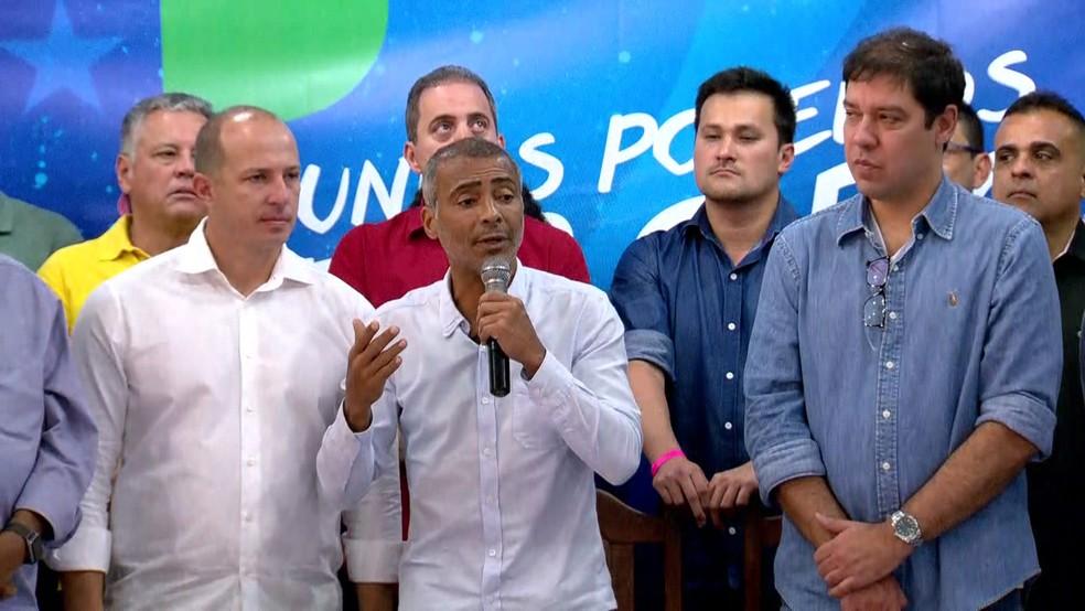 Romário teve a candidatura lançada neste sábado no Rio de Janeiro (Foto: Willians Pereira / TV Globo)