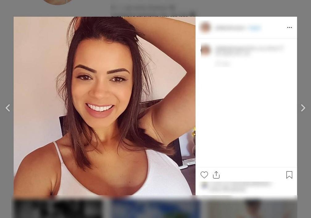 Julia Barbosa de Souza, de 28 anos, era passageira da caminhonete dirigida pelo namorado dela — Foto: Instagram/Reprodução