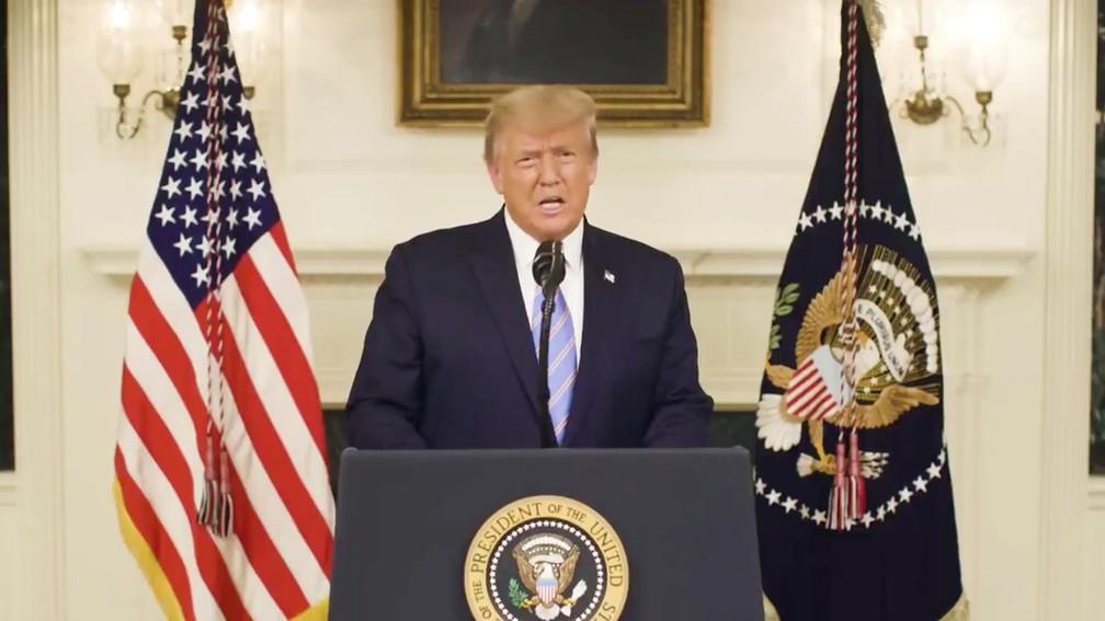 Donald Trump, em vídeo gravado nesta quinta-feira (7), faz discurso em tom de despedida da presidência dos EUA horas depois de o Congresso certificar vitória de Joe Biden nas eleições — Foto: Twitter/via Reuters