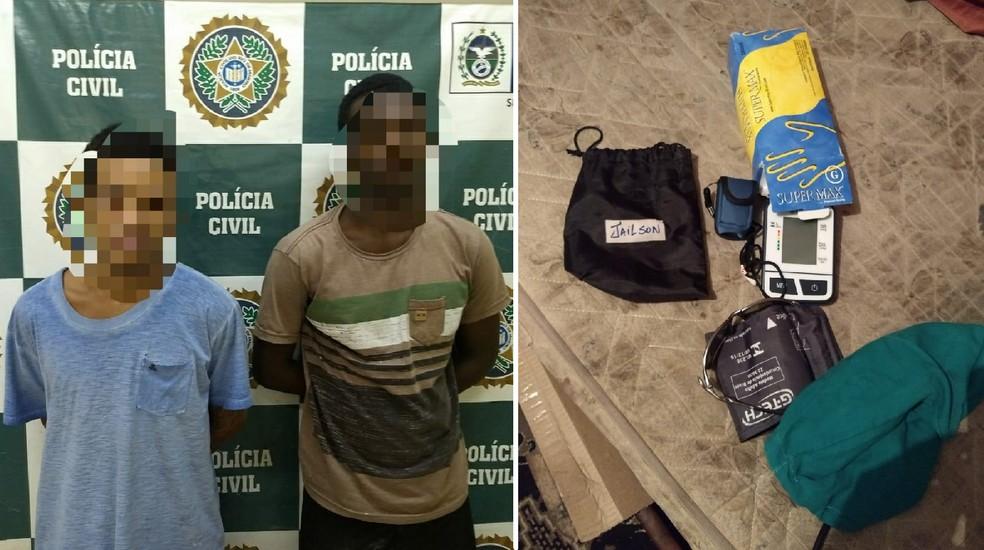 Com os presos foram encontrados pertences do técnico de enfermagem Jailson Stevam da Silva, morto a facadas em Petrópolis, no RJ — Foto: Polícia Civil/Divulgação