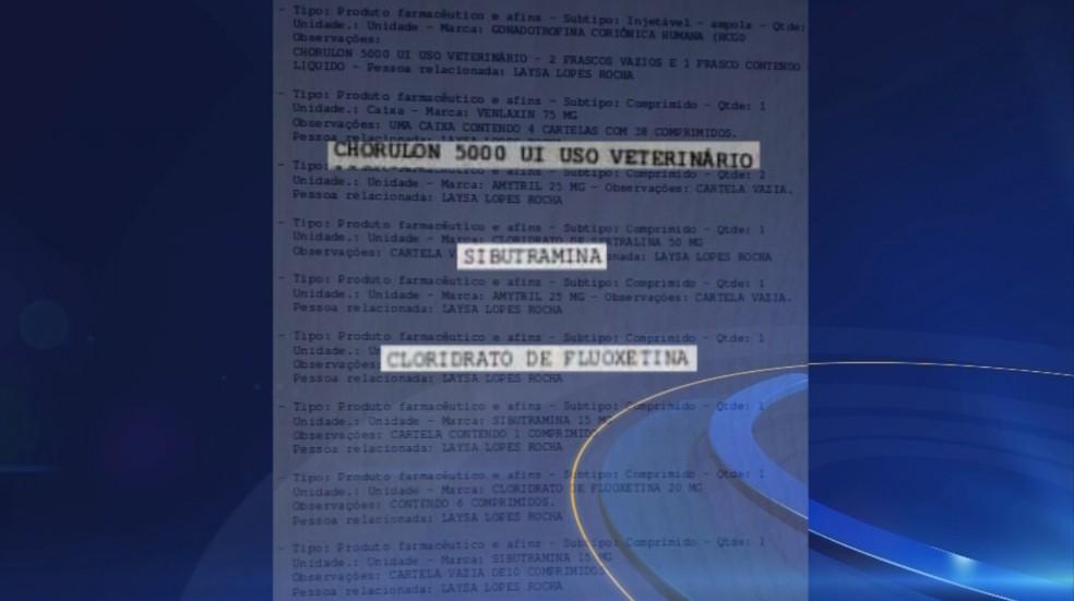 Vários medicamentos foram encontrados na casa da fisioterapeuta, em Castilho (SP) (Foto: Reprodução/TV TEM)