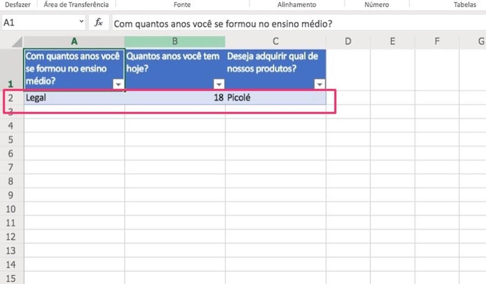 Ação para visualizar resultados de pesquisas no Excel Online — Foto: Reprodução/Marvin Costa
