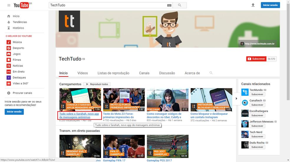Acesse o YouTube no PC e clique para abrir um vídeo (Foto: Reprodução/Bruno Soares)