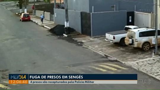 Quatro presos que fugiram da cadeia de Sengés são recapturados pela Polícia Militar