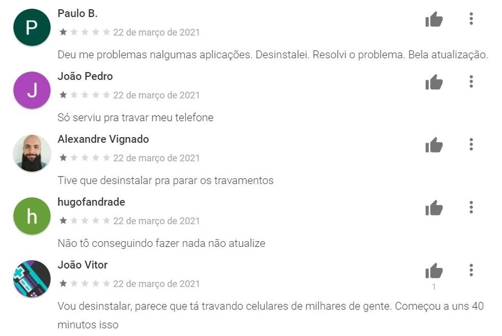 WebView recebe avaliações negativas na Play Store — Foto: Reprodução/TechTudo
