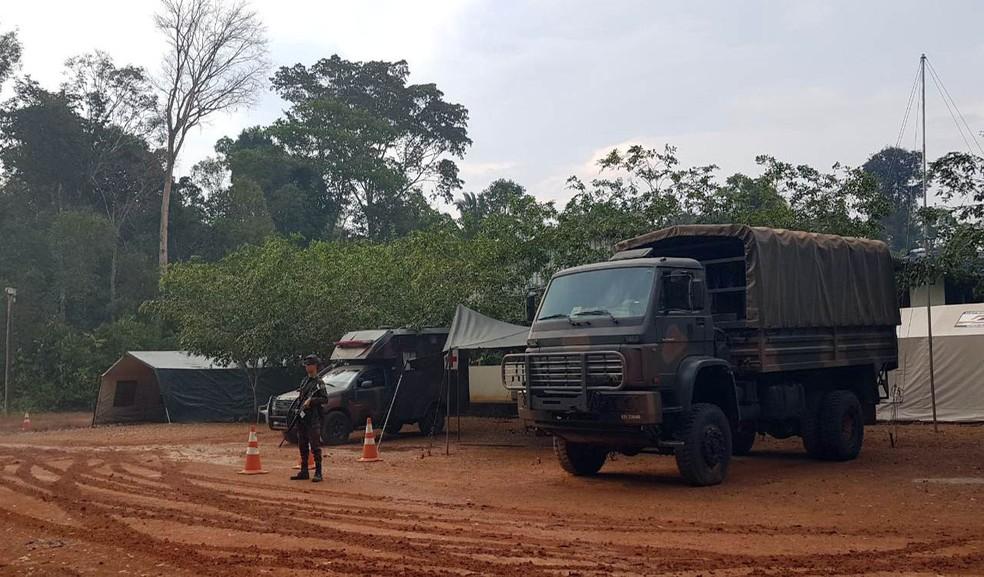 Ação do Exército na reserva Jacundá, em Porto Velho — Foto: EB/Divulgação