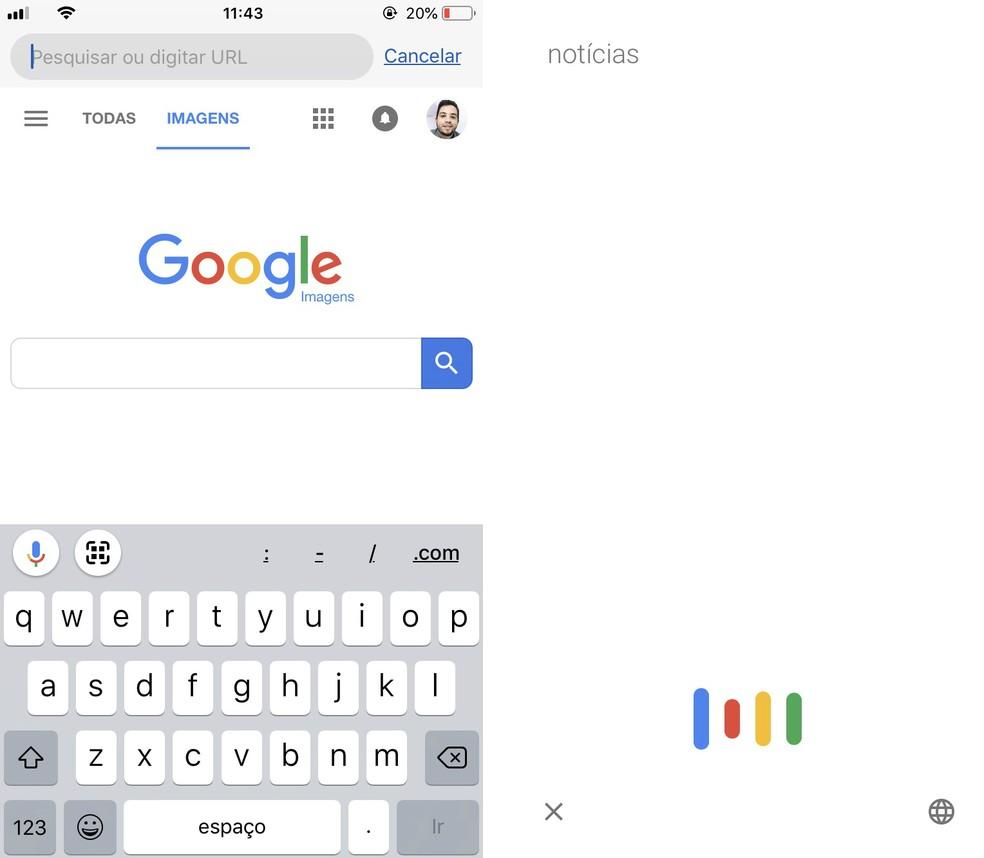 É possível pesquisar utilizando comandos de voz no Google Chrome para celular — Foto: Reprodução/Rodrigo Fernandes