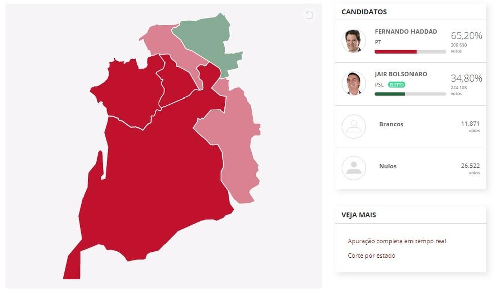 Em vermelho, as regiões onde Fernando Haddad (PT) ganhou. Em verde, as região onde Bolsonaro (PSL) ganhou — Foto: Arte/G1