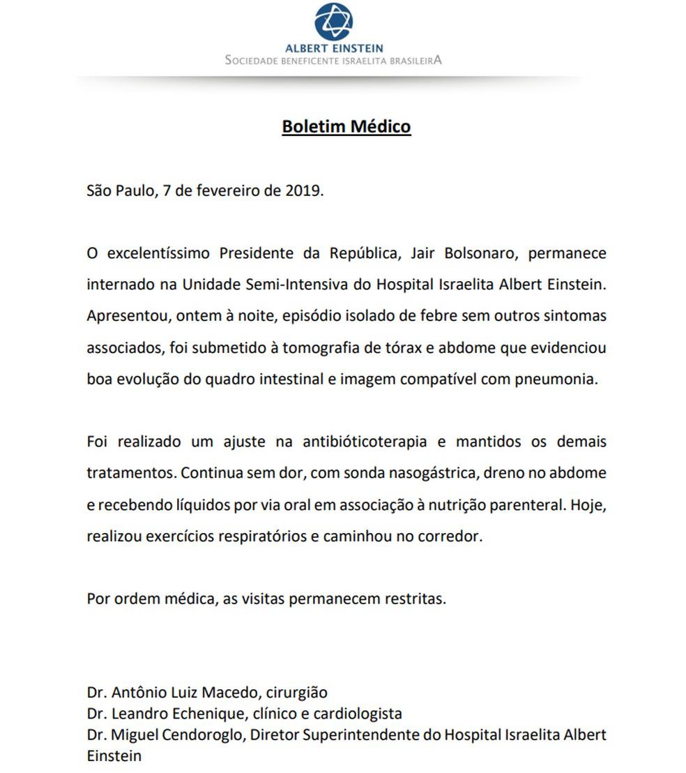 Boletim médico do presidente Jair Bolsonaro desta quinta-feira (7) — Foto: Divulgação/Hospital Albert Einstein