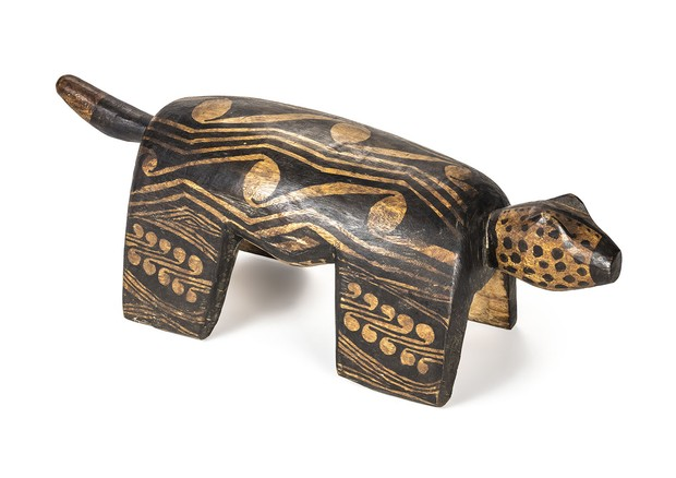 Onça jaguar, na exposição Bancos Indígenas do Brasil, no MCB (Foto: Divulgação)
