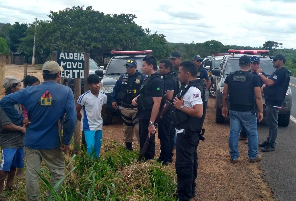 Forças policais fazem operação em reservas indígenas para capturar suspeitos de assaltos na BR-226. (Foto: Divulgação/Polícia Civil)