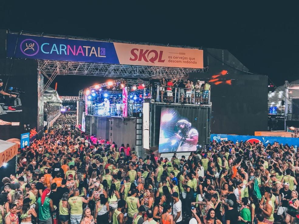 Bell Marques participou também da segunda noite de Carnatal, nesta sexta-feira (14). — Foto: Augusto César Gomes