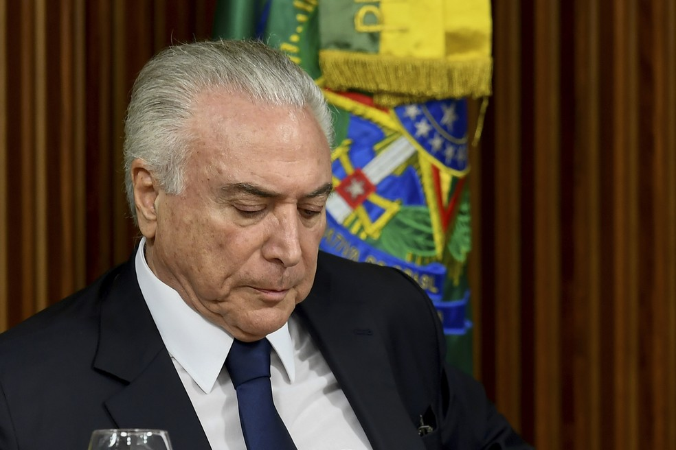 O presidente Michel Temer durante reunião em Brasília  (Foto: Evaristo Sa/AFP)