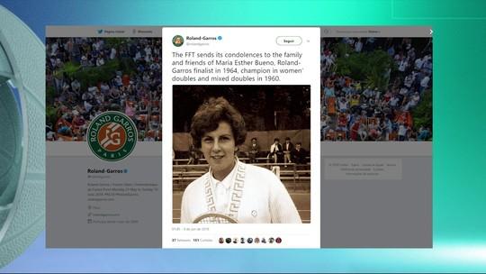 Maria Esther Bueno é homenageada na final feminina de Roland Garros