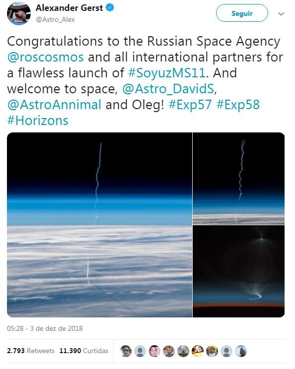 Twitter do astronauta Alexander Gerst, da Agência Espacial Européia. (Foto: Reprodução / Twitter)