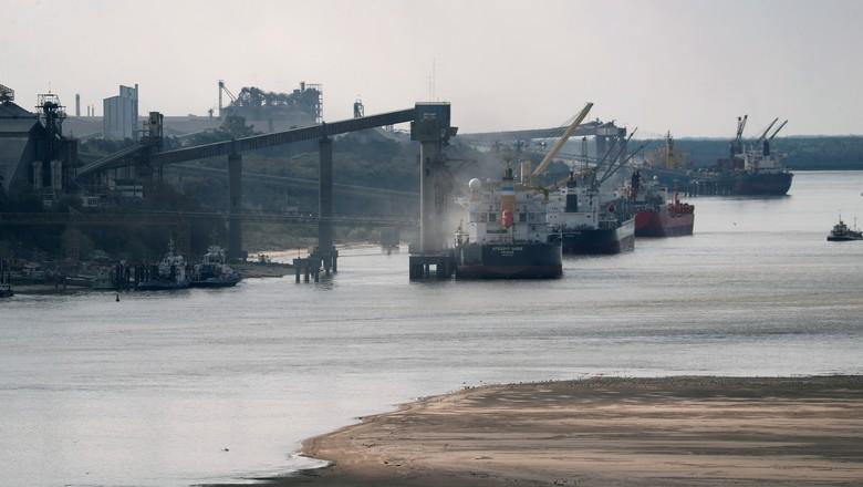 Navios carregados com grãos na região de Rosario, Argentina (Foto: Agustin Marcarian/Reuters)