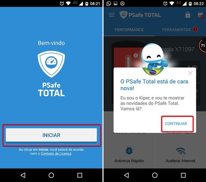 Iniciando o app PSafe Total (Foto: Felipe Alencar/TechTudo)