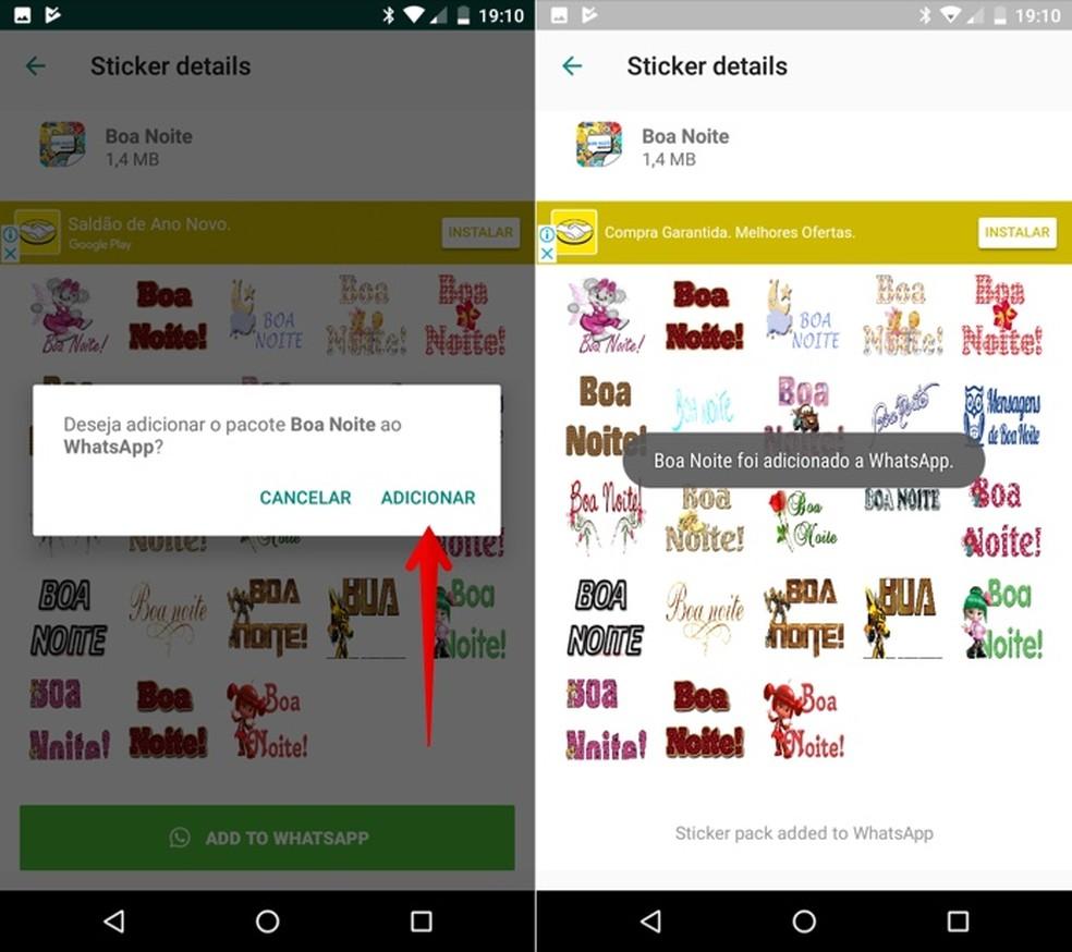 Confirme a instalação das figurinhas do app Stickers Bom Dia e Boa Noite no WhatsApp — Foto: Reprodução/Helito Beggiora